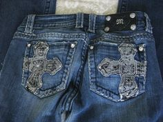Miss Me Jeans JP5138 Stretch Embellished Cross Boot Cut Size 27X32 #MissMe #BootCut