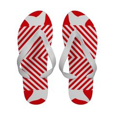 Red White Fractal pattern thongs flip-flop Flip Flops