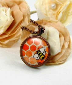 Sweet Honey Bee -- Tiny Watercolor Copper Necklace $38.00 #necklace #bee http://www.etsy.com/shop/SarahLambertCook
