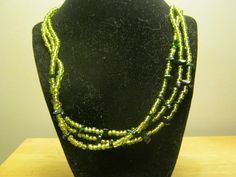 Light green and Green Goldstone Necklace by carebear1984 on Etsy, $14.00