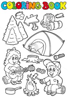 camping coloring page sitting around the campfire roasting marshmallows