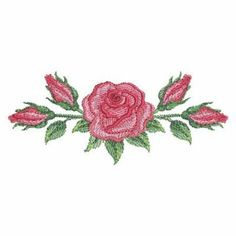 Watercolor Red Roses 6 - 3 Sizes! Sweet Heirloom Embroidery