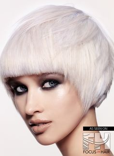 A Short White hairstyle From the de rigueur - la colour Collection by Chumba Uk Hairstyles, Long Bob Hairstyles, Creative Hairstyles, Bob Haircuts, Silver Haired Beauties, White Blonde, White Hair, Silver Grey Hair, Hair Magazine