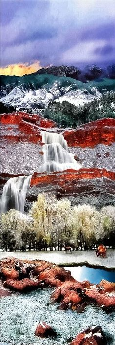 Rimrock Waterfall - Located in the rugged terrain of Colorado National Monument. Rim Rock Drive was built in the 1930s by the Civilian Conservation Corps as a Public Works Project, and has since been designated a historic district. Located in Colorado, USA.