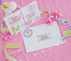 "Glam Camping Birthday Party Invitation and EDITABLE ""TO"" Address labels by Anders Ruff!"