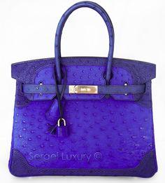 452156384390 New Hermes Birkin 30 cm bag Tricolor Ostrich Ghillies BLUE IRIS GHW