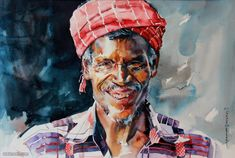 """Indian Watercolor Artist- """"Rajkumar Sthabathy"""" 1975 - Fine Art and You - Painting Abstract Portrait, Abstract Drawings, Watercolor Portraits, Art Drawings, Human Figure Sketches, Figure Sketching, Indiana, Human Painting, Watercolor Artists"""
