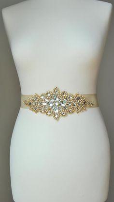 Hey, I found this really awesome Etsy listing at https://www.etsy.com/listing/198063650/luxury-gold-crystal-bridal-sashwedding