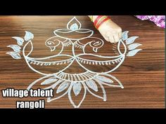 simple peacock deepam rangoli design for beginners with made easy to draw for everyone Easy Rangoli Designs Diwali, Indian Rangoli Designs, Simple Rangoli Designs Images, Rangoli Designs Latest, Rangoli Designs Flower, Free Hand Rangoli Design, Rangoli Border Designs, Small Rangoli Design, Rangoli Patterns