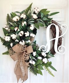 Cotton Wreath For Front Door, Farmhouse Wreath For Front Door, Personalized Wreath, Monogram Wreath, Cotton Wreath With Burlap Bow, Initial by WreathWorksbyCathy on Etsy