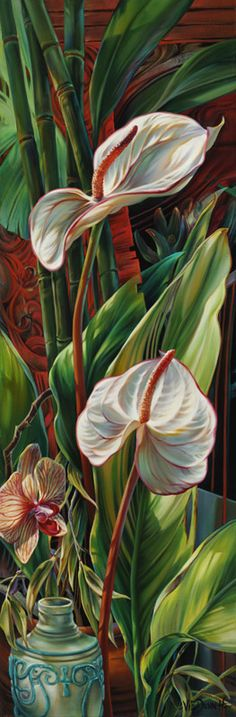 """Tropical Fusion"" - oil on canvas - 36""x12"" by Vie Dunn Harr"