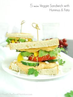 Minute Veggie Sandwich with Hummus and Feta Recipe on Yummly