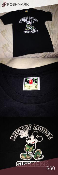 Bape x Mickey Mouse t shirt Tried on Bape Shirts Tees - Short Sleeve