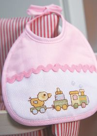 Anchor Baby Cross Stitch Motif - applied to a bib