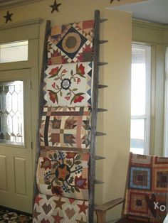 Displaying Quilts On Old Wooden Ladders Wide Rail