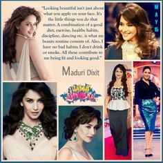 "Happy returns of the day to the Indian #diva and the true #Bollywood queen of dance and acting. #Happybirthday to the legend #MadhuriDixit! ""Looking #beautiful isn't just about what you apply on your face. It's the little things you do that matter. A combination of a good diet, exercise, healthy habits, discipline, #dancing etc. is what my beauty routine consists of. Also, I have no bad habits; I don't drink or smoke. All these contribute to me being fit and looking good."" .. #AFriendisaGift"