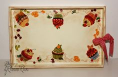 Decoupage wooden tray with muffins cupcakes  by ByRoxanaRusu, €25.00