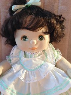 My Child Doll Brunette Top Knot Green Peach