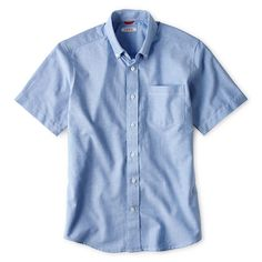 NWT Chaps Solid Oxford Light Blue Short Sleeve Shirt Boys Size 20