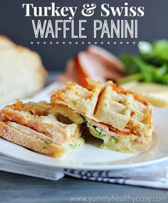 Turkey & Swiss Waffle Panini | delicious panini sandwiches made with a waffle iron instead of a panini press!