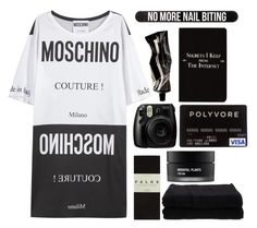 """No more nail biting..."" by beyond-my-thoughts on Polyvore featuring Moschino, Falke, Home Source International, Koh Gen Do, Fujifilm, Aesop, Rich and Damned and Bershka"