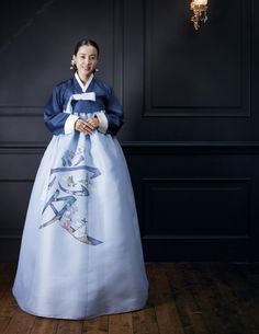 Modern #Hanbok, traditional Korean dress with simple blue jeorgori and very interesting light blue Chima