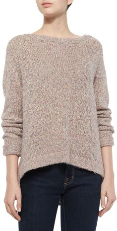 French Connection Pastel Marl Button-Back Sweater, Tan