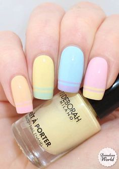 Beauty: Double French Nail Art Tutorial (Demelza's World) Hit two in one here, the double french nails and pastel colours are a great way to start Spring Hot Nail Designs, Easter Nail Designs, Nail Designs Spring, Pretty Designs, Cute Spring Nails, Spring Nail Art, Summer Nails, Spring Art, French Nails