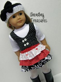 American Girl doll clothes, 18 inch doll clothes, black vest, red & black ruffle skirt, white 3/4 sl t-shirt***, white w/black bow hat