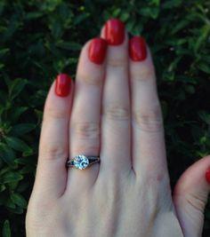 1.40 Carat Diamond Engagement Ring with Sapphires c1920s - Bridal