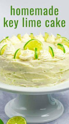 Homemade Cake Recipes, Best Cake Recipes, Baking Recipes, Key Lime Cupcakes, Key Lime Cake, Key Lime Pie Cake Recipe, Keylime Cake Recipe, Lime Recipes, Key Lime Frosting Recipes