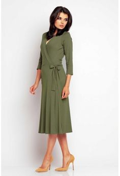 Zakładana Kopertowo Elegancka Oliwkowa Sukienka Midi
