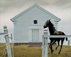 Church and Horse Author: Alex Colville (Canadian, 1920 – Acrylic on hardboardLocation: Montreal Museum of Fine A. Alex Colville, Canadian Painters, Canadian Artists, Magic Realism, Realism Art, Art Inuit, Montreal Museums, Montreal Quebec, Naive Art