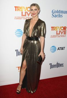 Julianne Hough Evening Dress - Julianne Hough went for a daring plunge in a gold Reformation gown with a down-to-the-navel neckline at the 2016 TrevorLIVE LA.