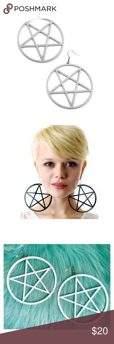 HUGE White Wiccan Pentacle Witch Goth Earrings Total statement piece! White plastic, you will get 2 earrings - for pierced ears only Jewelry Earrings