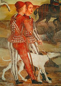 Two pages and their dog, detail of a hunting...... scene, c.1520-30 (fresco) Girolamo Romanino