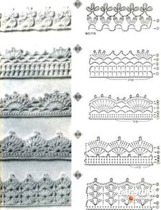 22 trendy crochet edging and borders pillowcases blanket stitch Crochet Edging Patterns Free, Crochet Doily Diagram, Crochet Lace Edging, Crochet Borders, Filet Crochet, Free Pattern, Crochet Shawl, Crochet Doilies, Crochet Mittens