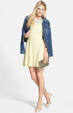 $88, Yellow Lace Skater Dress: BB Dakota Renley Lace Fit Flare Dress. Sold by Nordstrom. Click for more info: https://lookastic.com/women/shop_items/228388/redirect