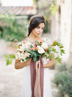 Love how the dusty rose ribbon makes the small flowers pop!