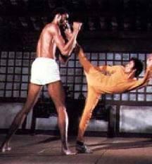 Bruce Lee kicking Kareem Abdul-Jabaar aka Lou Alcindor