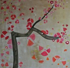 """Saatchi Online Artist Monica Forrer; Painting, """"Fukushima, Japan's grieving Hanami (II) 80x80cm. Acrylic, oil and inks on canvas."""" #art"""