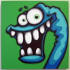 the EX - 12x12 original painting on canvas, monster art, monster wall art, monster decor