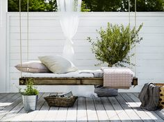 A DIY Hanging daybed in the beautiful home of Swedish interior stylist Pella Hed. A DIY Hanging da Outdoor Beds, Outdoor Spaces, Outdoor Living, Outdoor Decor, Rustic Outdoor, Indoor Outdoor, Scandinavian Garden, Scandinavian Interior, Scandi Garden
