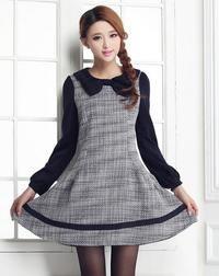 Dark Blue Cute Retro Dolly Style Globed Mini Dress with Bow Collar