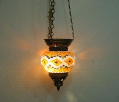 Yellow glass hanging mosaic lampe mosaique Night by meryemart