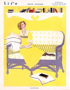 """Woman relaxing in a cane sofa, reading a book, happens to look up and disturbed to see the number of books sitting on the shelf, still waiting to be read: """"Highbrowsing.""""     Artist: Coles Phillips  Source: Nancy Ellis  Restoration by: Nancy Ellis & magscanner"""