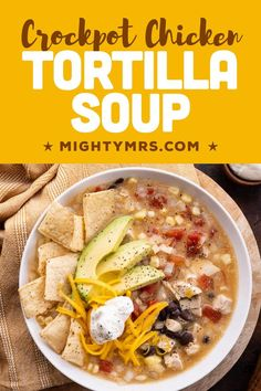 This slow cooker Chicken Tortilla Soup recipe is so easy — everything cooks in the crockpot — and tastes amazing! Made with cooked chicken (rotisserie chicken, grilled or leftover chicken), corn, black beans, fire roasted tomatoes, jalapeño or green chilis and taco seasoning. Top this soup with cheddar cheese, sour cream, tortilla chips and fresh, healthy avocado slices. Stir in extra sour creamy for a creamy soup. Easy and delish!
