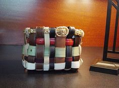 Woven Repurposed, Upcycled Belt Basket!