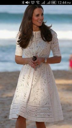 Kate Middleton Wears Dainty Zimmermann for a Nice Beach Stroll - Photo: Chris Jackson/Getty In one of our favorite examples of this so far, the Duchess chose a very cute white laser-cut dress by cool Aussi… Source by rezlaw - Spring 2015 Fashion, Spring Fashion Outfits, Modest Fashion, Boho Fashion, Dress Fashion, Modest Clothing, Modest Dresses, Modest White Dress, Feminine Fashion