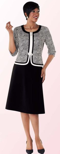 Tally Taylor 9415-Black / White Two Tone Circle Design One Piece Dress